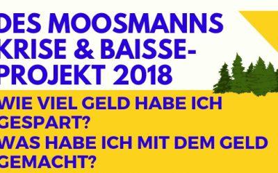 Des Moosmanns Krise & Baisse-Projekt 2018: Wie viel Geld habe ich gespart? Was habe ich mit dem Geld gemacht?